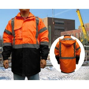 Neon Orange Safety Jacket Parka ANSI Class 3
